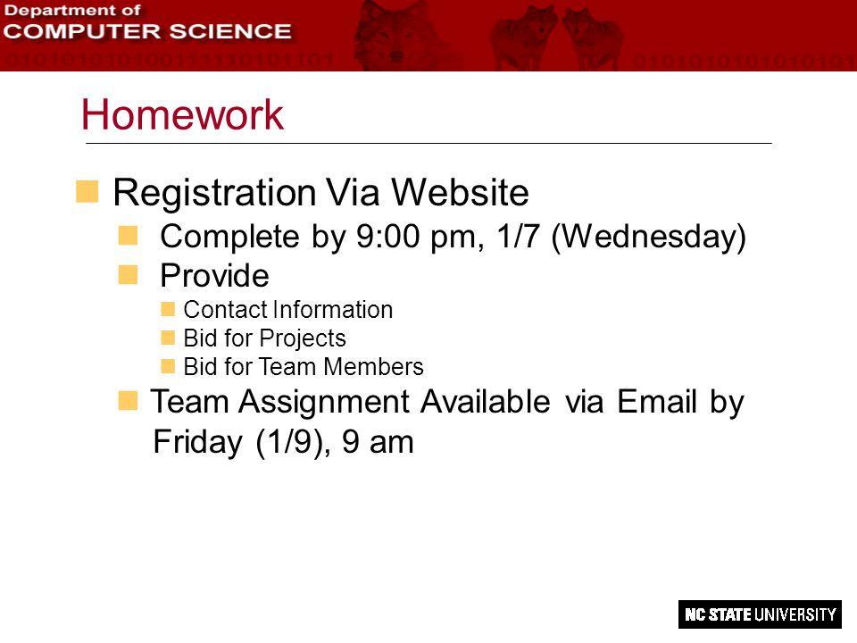 Homework n Registration Via Website n Complete by 9:00 pm, 1/7 (Wednesday) n Provide n Contact Information Bid for Projects n Bid for Team Members n T