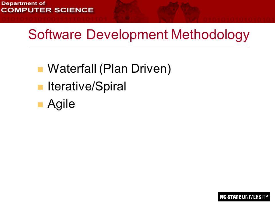 Software Development Methodology n Waterfall (Plan Driven) n Iterative/Spiral n Agile