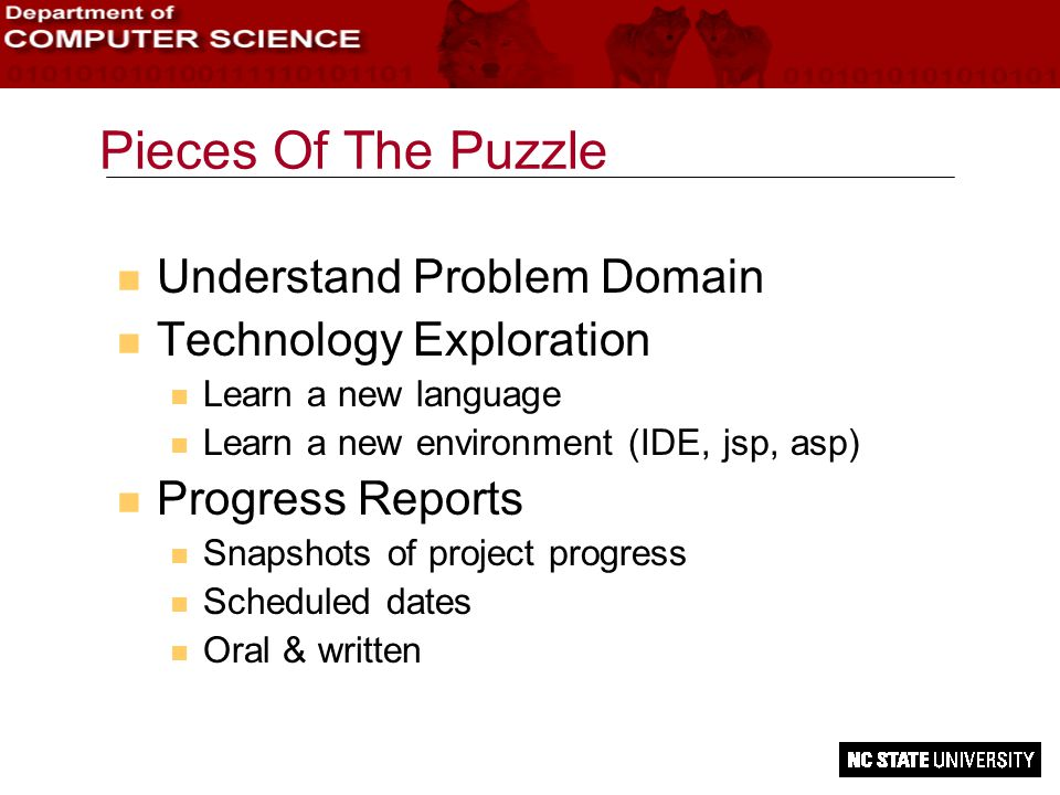 Pieces Of The Puzzle n Understand Problem Domain n Technology Exploration n Learn a new language n Learn a new environment (IDE, jsp, asp) n Progress Reports n Snapshots of project progress n Scheduled dates n Oral & written