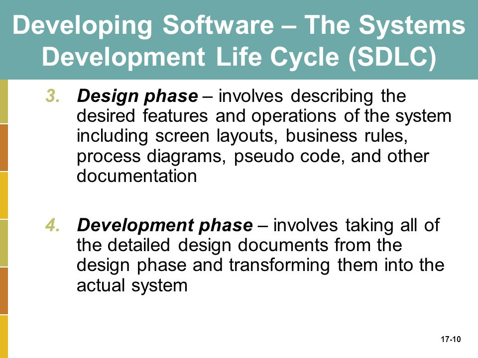 17-10 Developing Software – The Systems Development Life Cycle (SDLC) 3.Design phase – involves describing the desired features and operations of the system including screen layouts, business rules, process diagrams, pseudo code, and other documentation 4.Development phase – involves taking all of the detailed design documents from the design phase and transforming them into the actual system