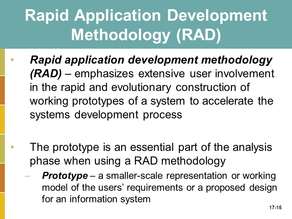 17-15 Rapid Application Development Methodology (RAD) Rapid application development methodology (RAD) – emphasizes extensive user involvement in the rapid and evolutionary construction of working prototypes of a system to accelerate the systems development process The prototype is an essential part of the analysis phase when using a RAD methodology –Prototype – a smaller-scale representation or working model of the users' requirements or a proposed design for an information system