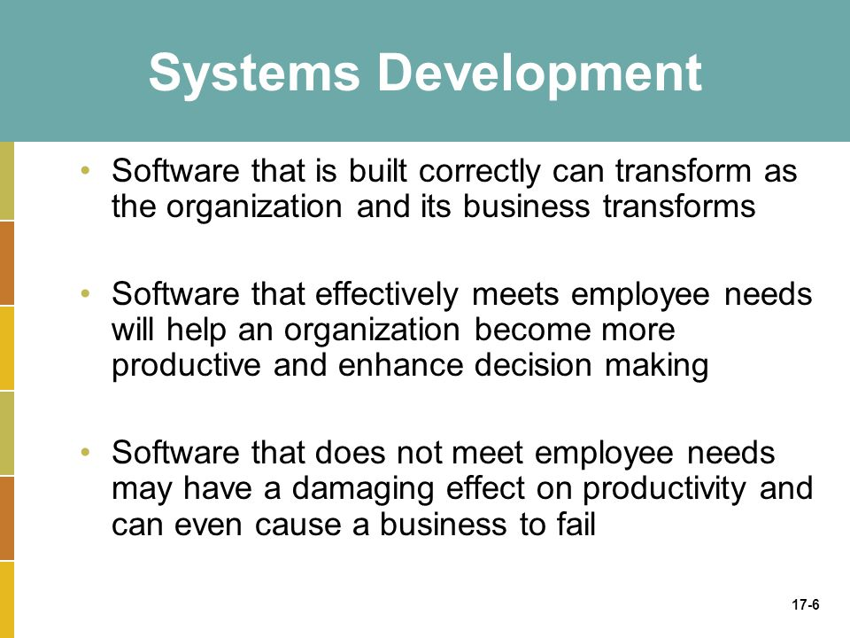 17-6 Systems Development Software that is built correctly can transform as the organization and its business transforms Software that effectively meets employee needs will help an organization become more productive and enhance decision making Software that does not meet employee needs may have a damaging effect on productivity and can even cause a business to fail