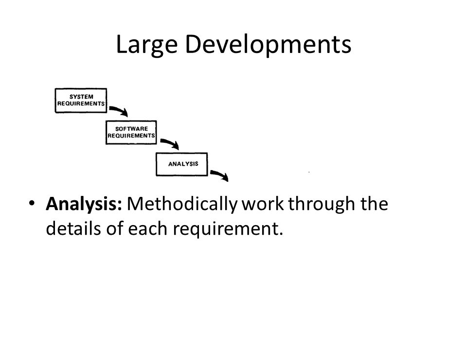 Large Developments Analysis: Methodically work through the details of each requirement.