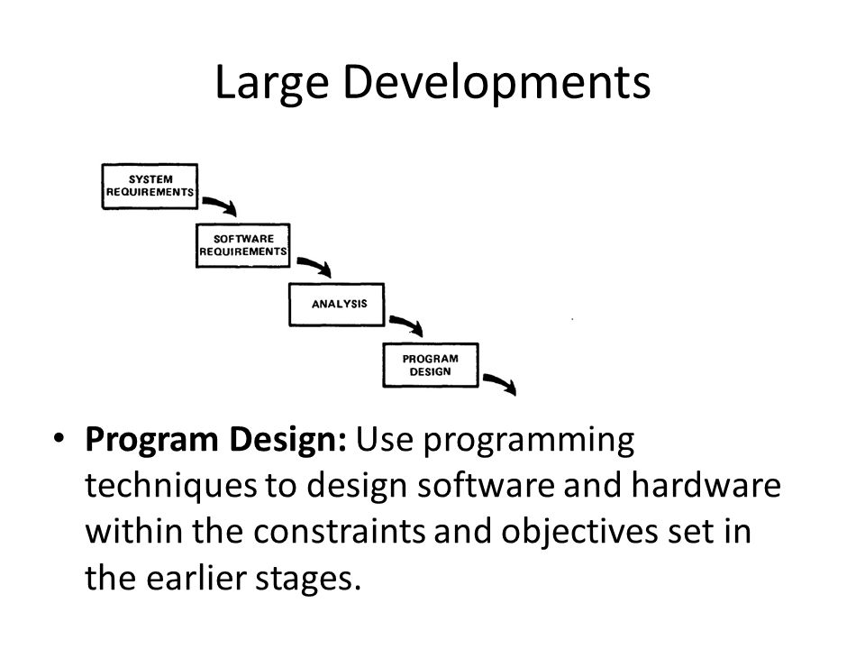 Large Developments Program Design: Use programming techniques to design software and hardware within the constraints and objectives set in the earlier stages.