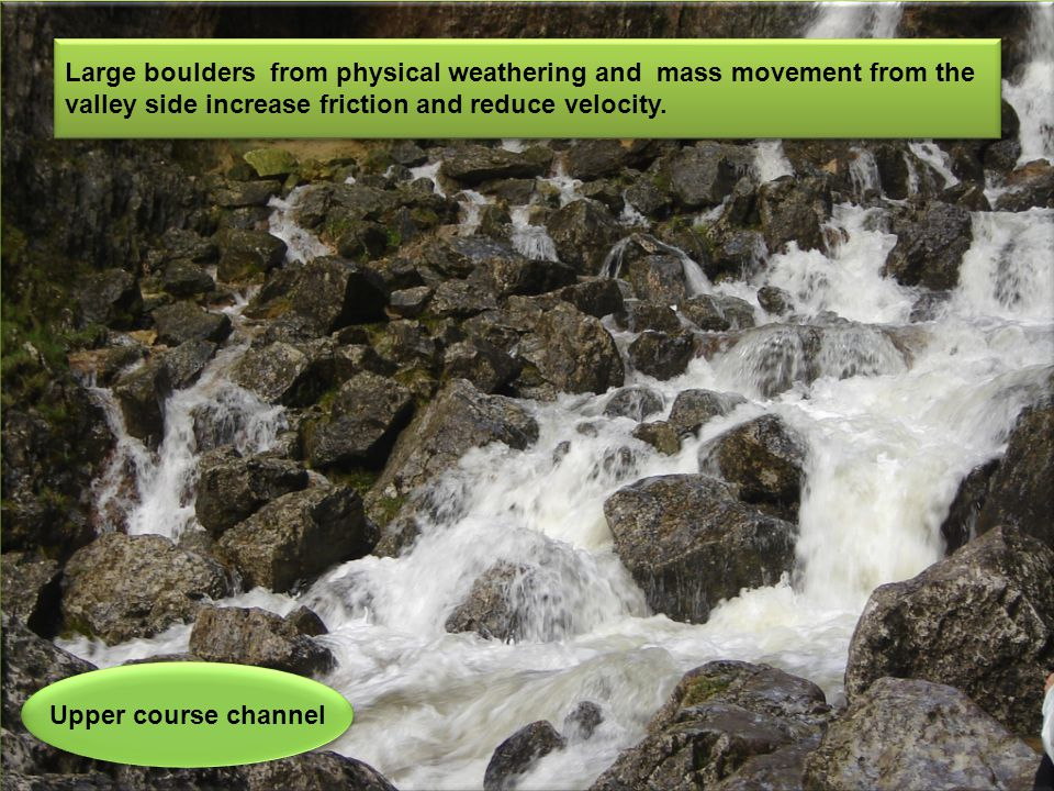 Upper course channel Large boulders from physical weathering and mass movement from the valley side increase friction and reduce velocity.
