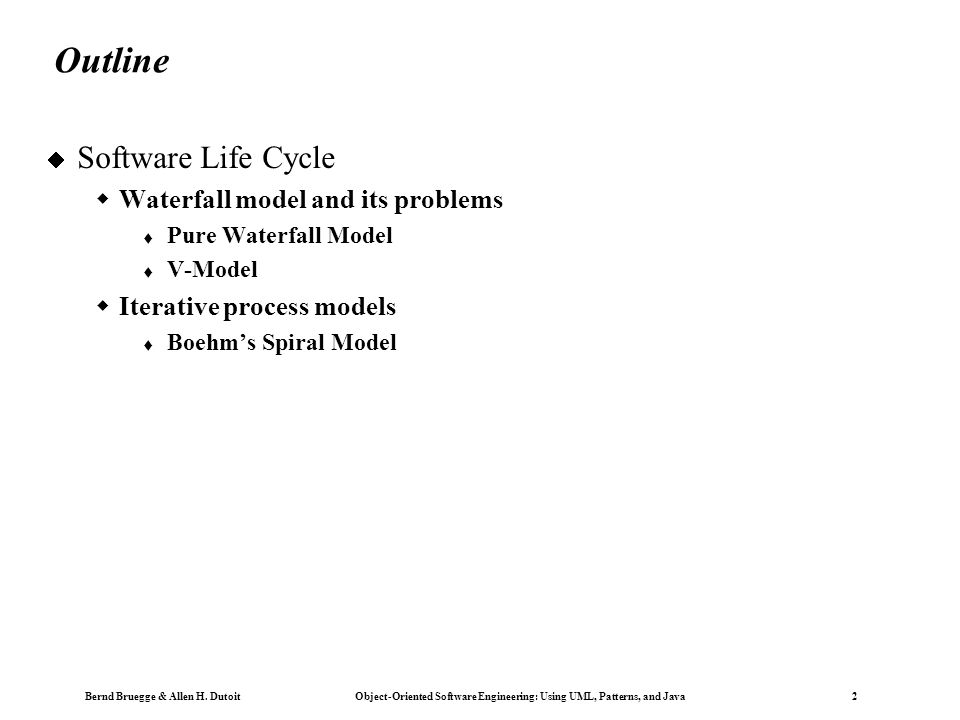 Copyright 2002 Bernd Brügge Software Engineering II, Lecture 3: Scheduling SS 2002 13  Many models have been proposed to deal with the problems of defining activities and associating them with each other  The first model proposed was the waterfall model [Royce 1970] Life Cycle Modeling