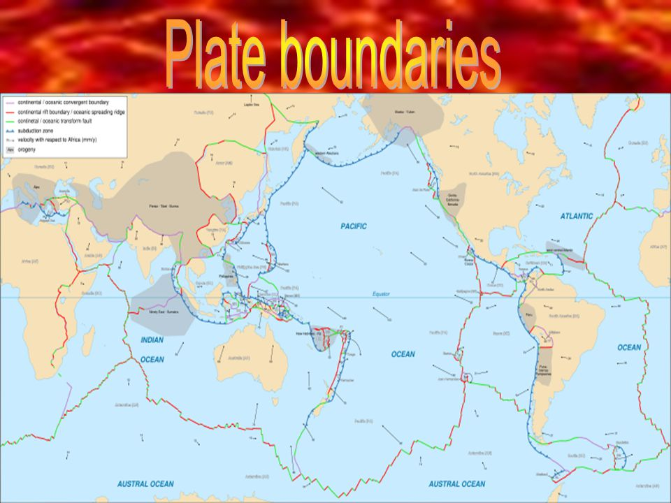 Types of plate boundaries - Constructive plate boundaries - Destructive plate boundaries - Conservative plate boundaries