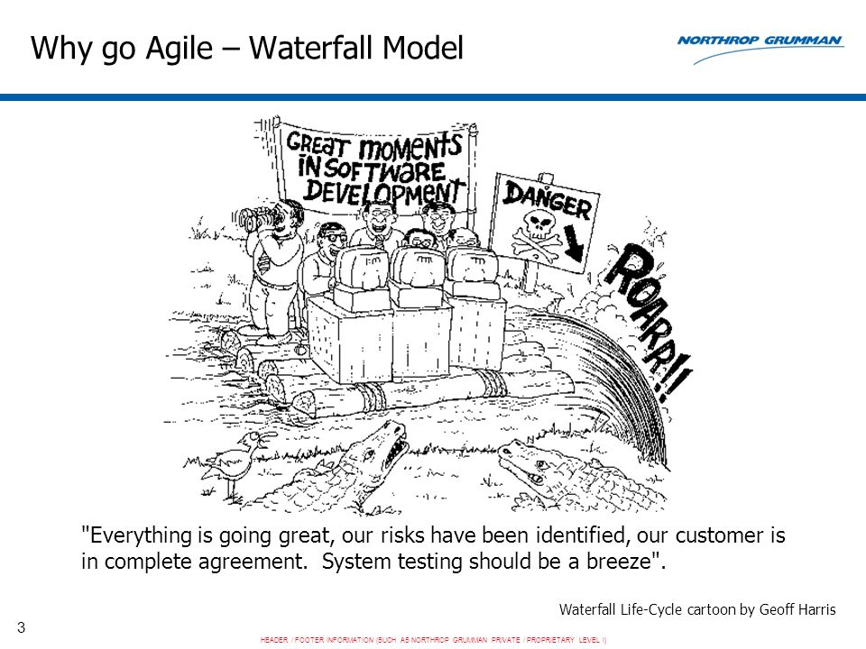 HEADER / FOOTER INFORMATION (SUCH AS NORTHROP GRUMMAN PRIVATE / PROPRIETARY LEVEL I) 3 Why go Agile – Waterfall Model Waterfall Life-Cycle cartoon by Geoff Harris Everything is going great, our risks have been identified, our customer is in complete agreement.