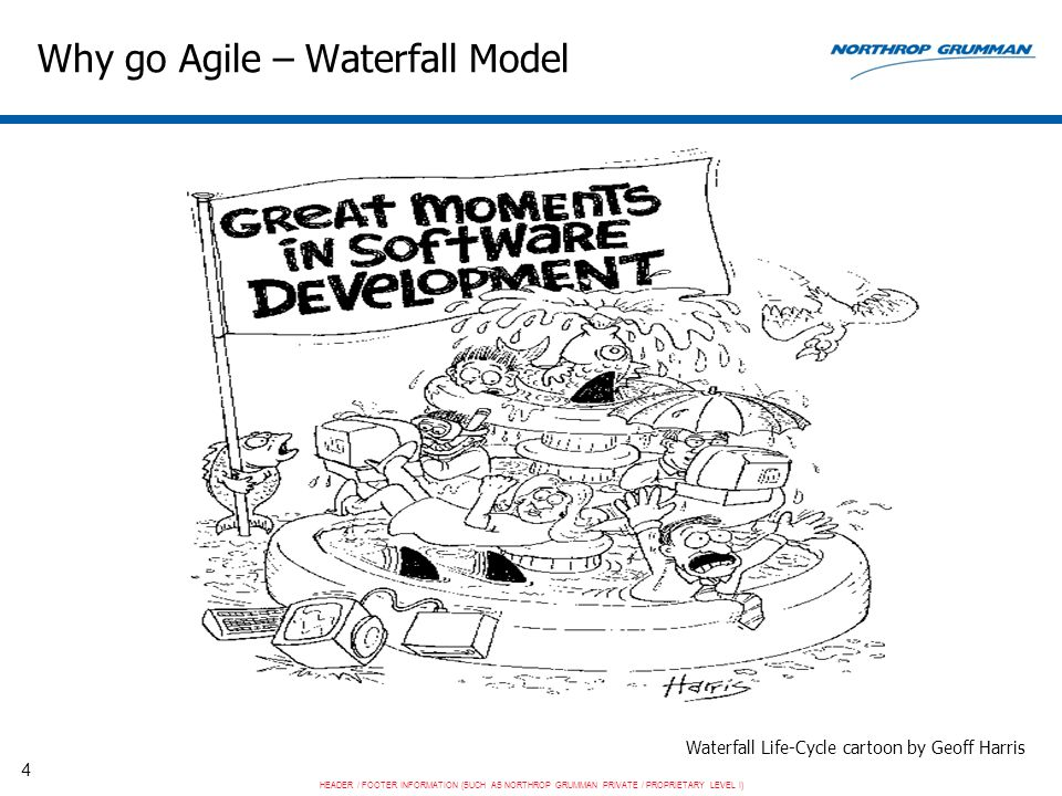 HEADER / FOOTER INFORMATION (SUCH AS NORTHROP GRUMMAN PRIVATE / PROPRIETARY LEVEL I) 4 Why go Agile – Waterfall Model Waterfall Life-Cycle cartoon by Geoff Harris
