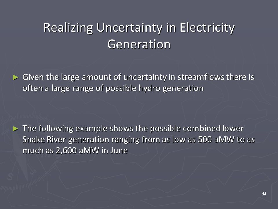 14 Realizing Uncertainty in Electricity Generation ► Given the large amount of uncertainty in streamflows there is often a large range of possible hydro generation ► The following example shows the possible combined lower Snake River generation ranging from as low as 500 aMW to as much as 2,600 aMW in June