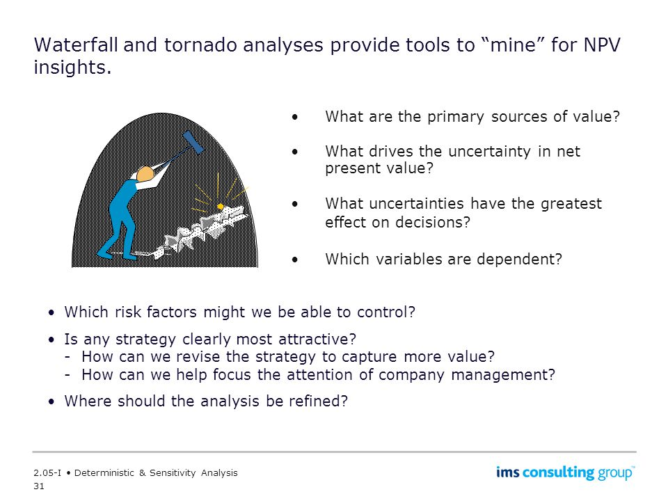 31 2.05-I Deterministic & Sensitivity Analysis Waterfall and tornado analyses provide tools to mine for NPV insights.