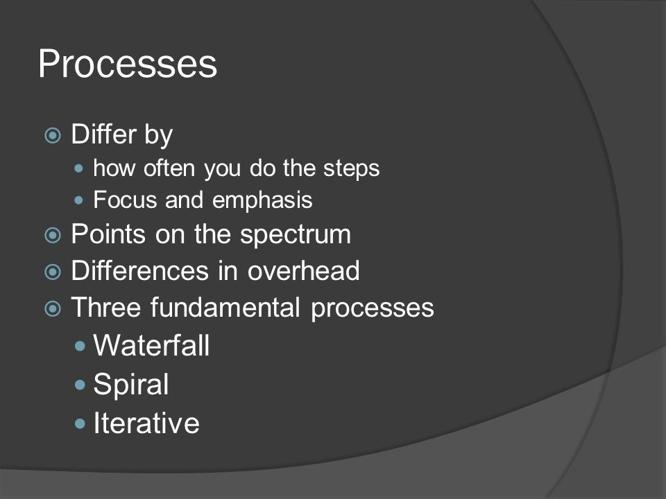 Processes  Differ by how often you do the steps Focus and emphasis  Points on the spectrum  Differences in overhead  Three fundamental processes Waterfall Spiral Iterative