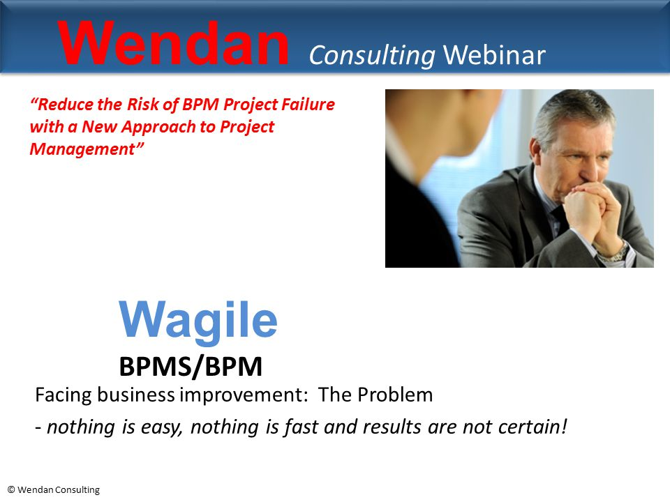 © Wendan Consulting Wendan Consulting Webinar Facing business improvement: The Problem - nothing is easy, nothing is fast and results are not certain!