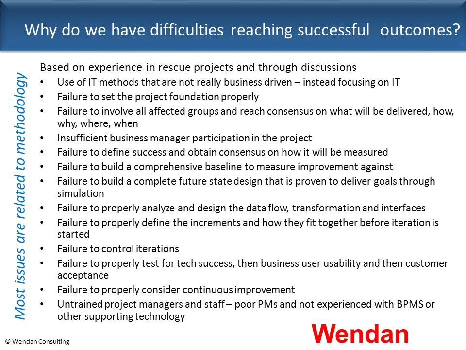 © Wendan Consulting Why do we have difficulties reaching successful outcomes? Based on experience in rescue projects and through discussions Use of IT