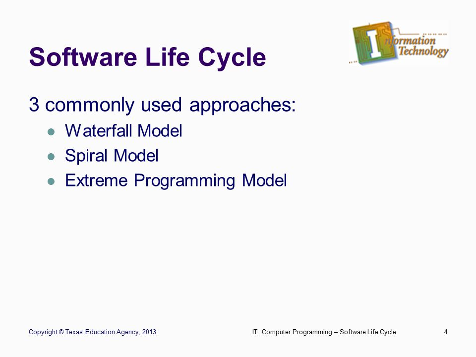 Waterfall Model Copyright © Texas Education Agency, 2013IT: Computer Programming – Software Life Cycle5 Analysis Design Implementation Testing Deployment