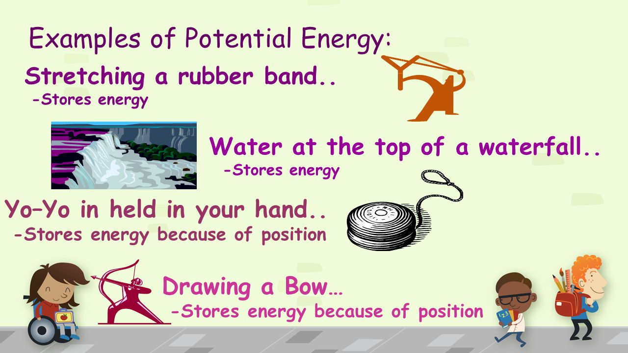 Potential Energy… Energy due to position or stored energy.