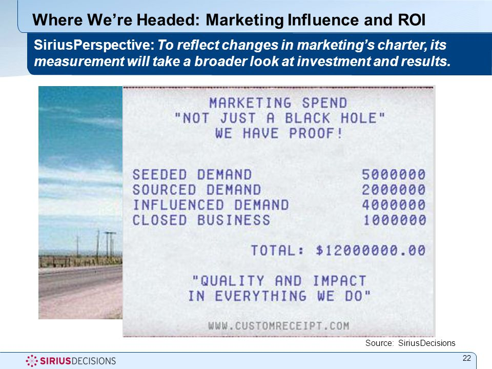 Where We're Headed: Marketing Influence and ROI 22 SiriusPerspective: To reflect changes in marketing's charter, its measurement will take a broader look at investment and results.