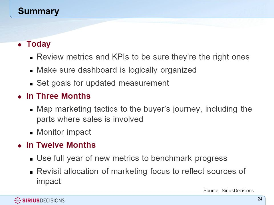 Summary Today Review metrics and KPIs to be sure they're the right ones Make sure dashboard is logically organized Set goals for updated measurement In Three Months Map marketing tactics to the buyer's journey, including the parts where sales is involved Monitor impact In Twelve Months Use full year of new metrics to benchmark progress Revisit allocation of marketing focus to reflect sources of impact Source: SiriusDecisions 24