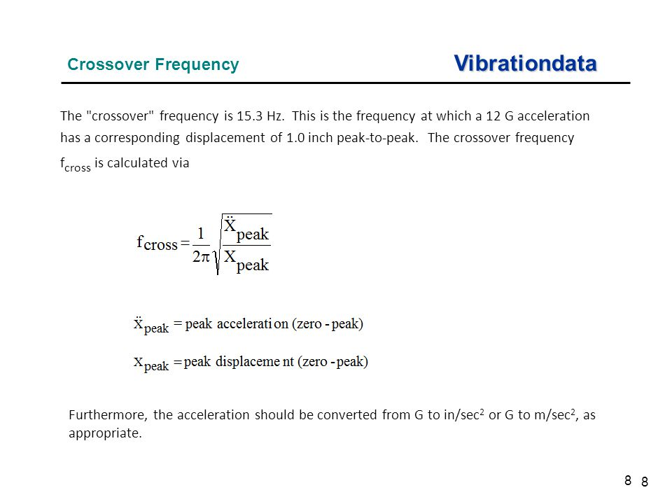 8 Vibrationdata Crossover Frequency 8 The crossover frequency is 15.3 Hz.