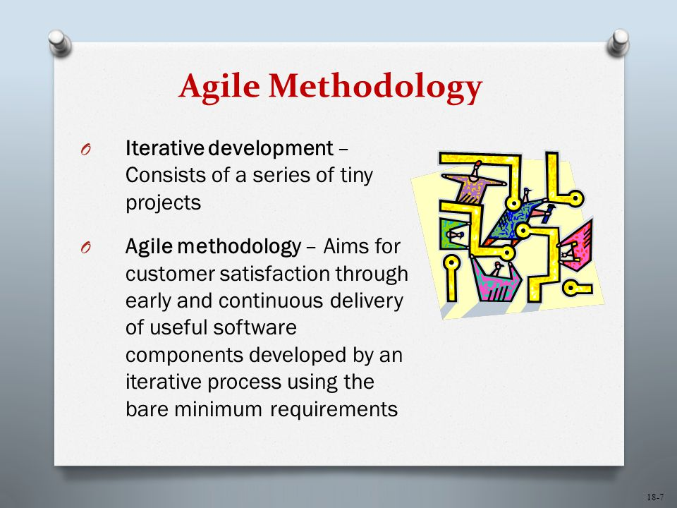 18-7 Agile Methodology O Iterative development – Consists of a series of tiny projects O Agile methodology – Aims for customer satisfaction through ea