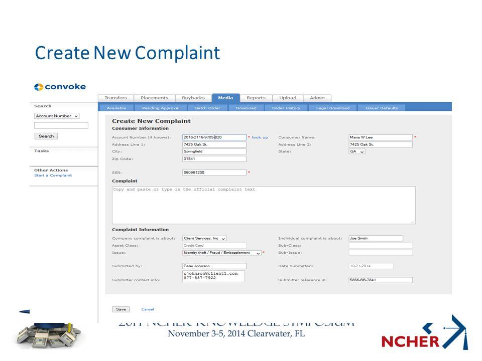 Create New Complaint