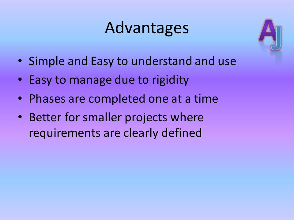 Advantages Simple and Easy to understand and use Easy to manage due to rigidity Phases are completed one at a time Better for smaller projects where requirements are clearly defined