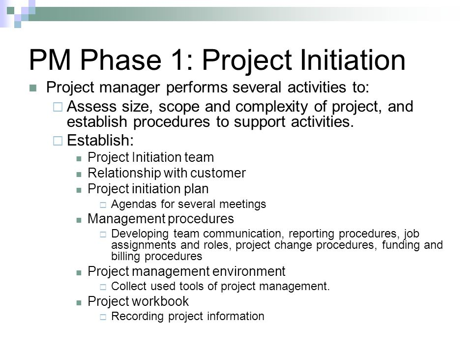 PM Phase 1: Project Initiation Project manager performs several activities to:  Assess size, scope and complexity of project, and establish procedures to support activities.
