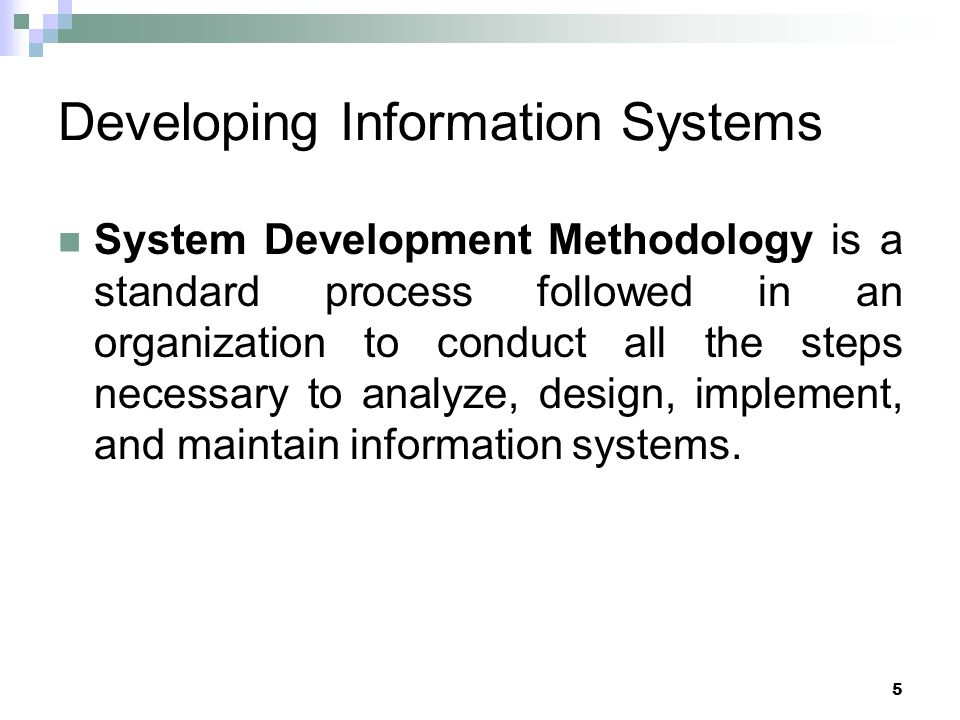 6 Systems Development Life Cycle (SDLC) Traditional methodology used to develop, maintain, and replace information systems.