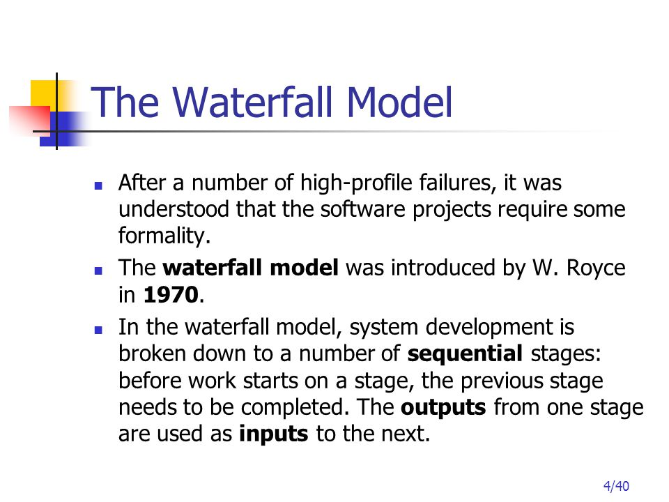 15/40 Incremental Model It can be difficult to break delivery of the system into phases which are internally consistent.