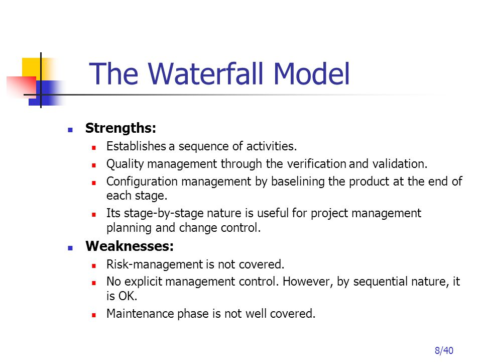 8/40 The Waterfall Model Strengths: Establishes a sequence of activities.