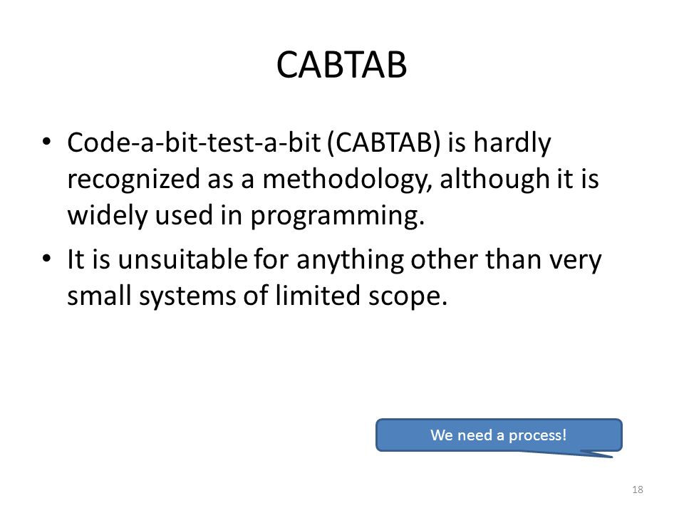CABTAB Code-a-bit-test-a-bit (CABTAB) is hardly recognized as a methodology, although it is widely used in programming. It is unsuitable for anything