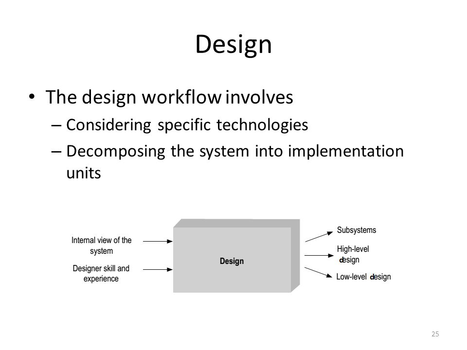 Design The design workflow involves – Considering specific technologies – Decomposing the system into implementation units 25