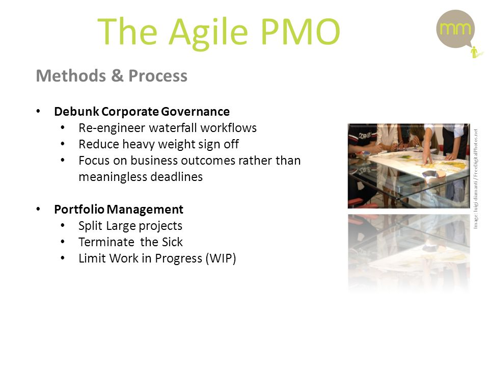 The Agile PMO Methods & Process Debunk Corporate Governance Re-engineer waterfall workflows Reduce heavy weight sign off Focus on business outcomes rather than meaningless deadlines Portfolio Management Split Large projects Terminate the Sick Limit Work in Progress (WIP) Image: luigi diamanti / FreeDigitalPhotos.net