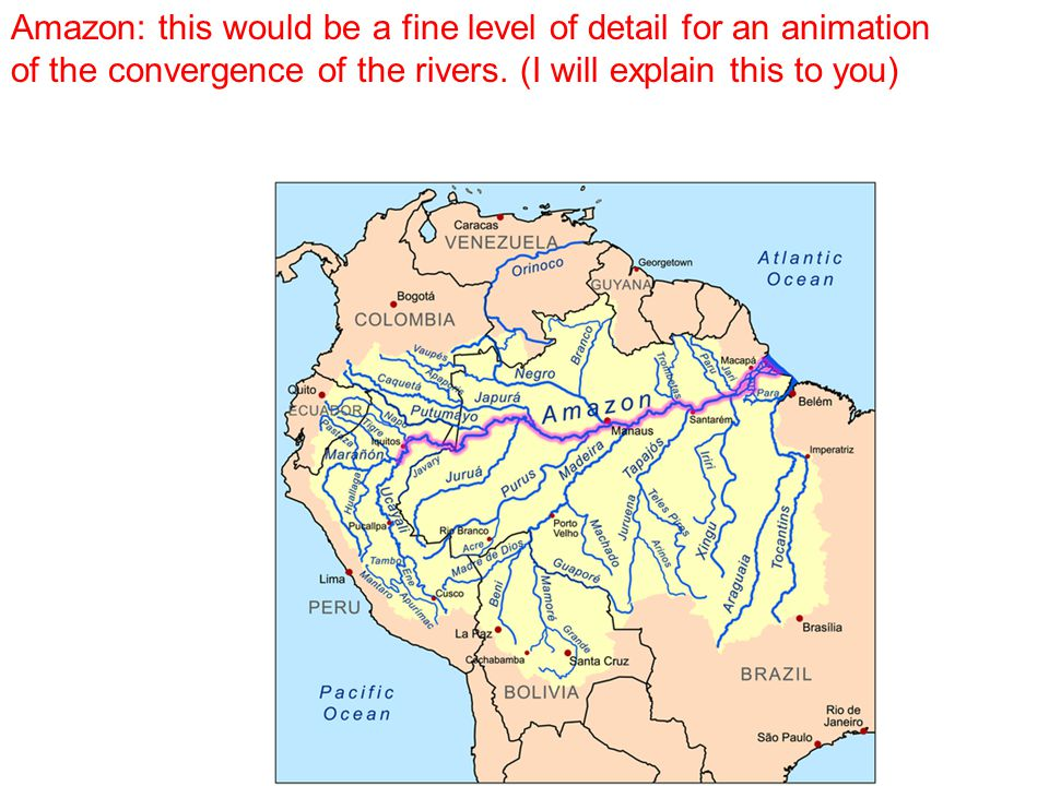 Amazon: this would be a fine level of detail for an animation of the convergence of the rivers.