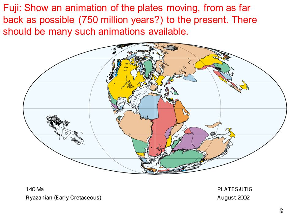Fuji: Show an animation of the plates moving, from as far back as possible (750 million years ) to the present.
