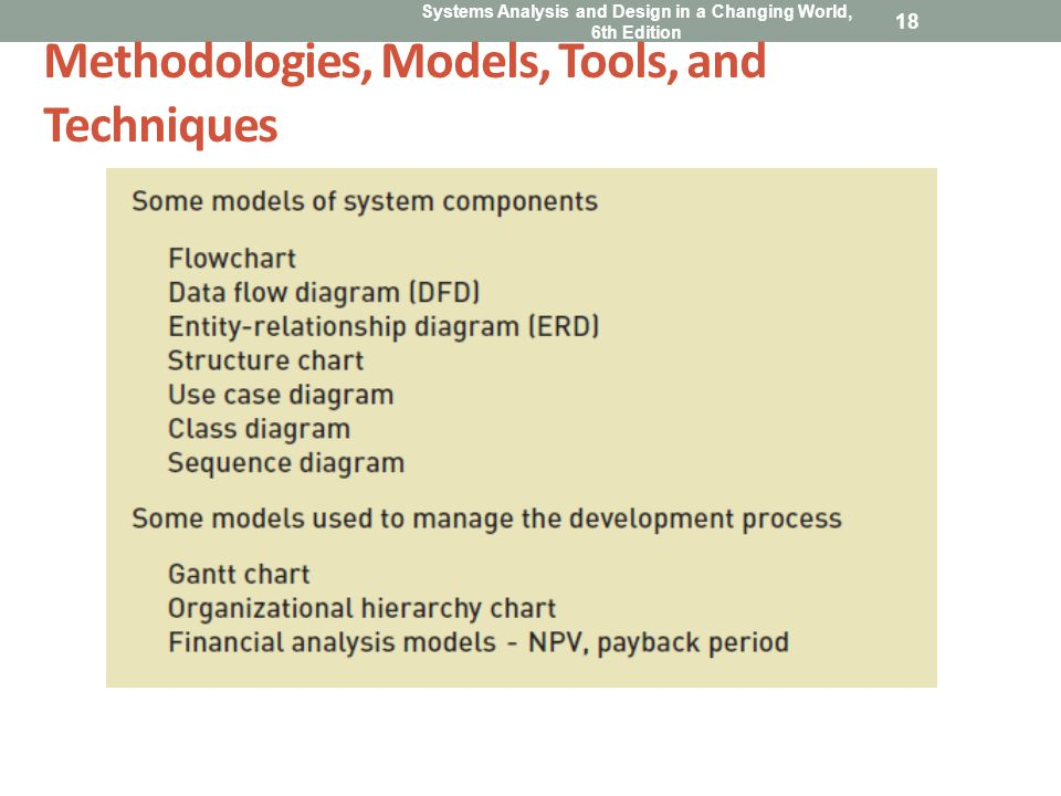 Systems Analysis and Design in a Changing World, 6th Edition 18 Methodologies, Models, Tools, and Techniques