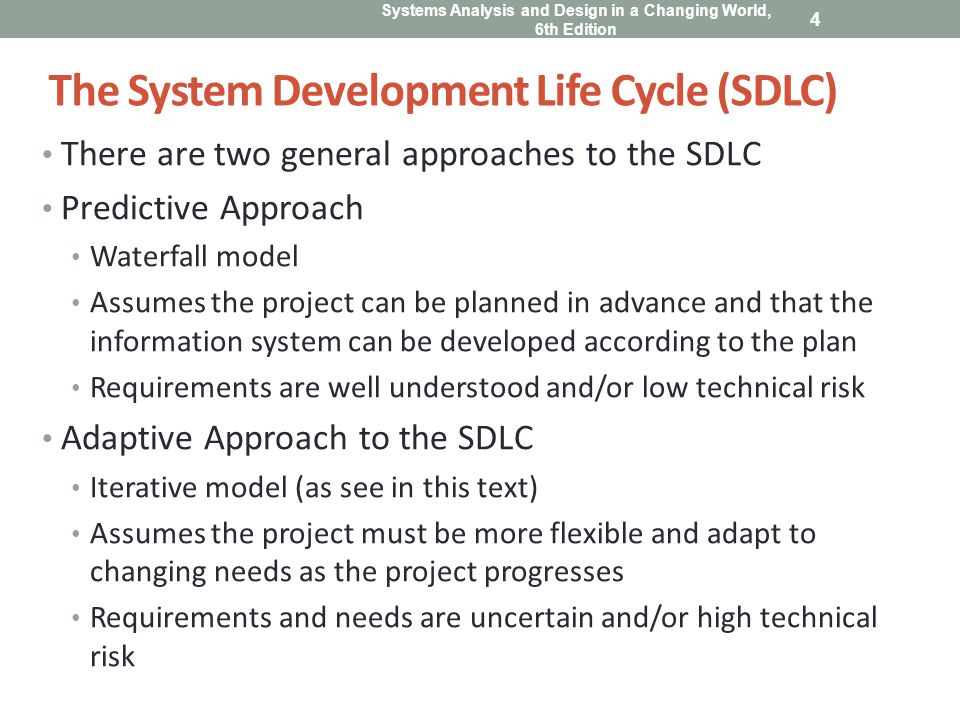 Systems Analysis and Design in a Changing World, 6th Edition 5 The System Development Life Cycle (SDLC) Most projects fall on a continuum between Predictive and Adaptive