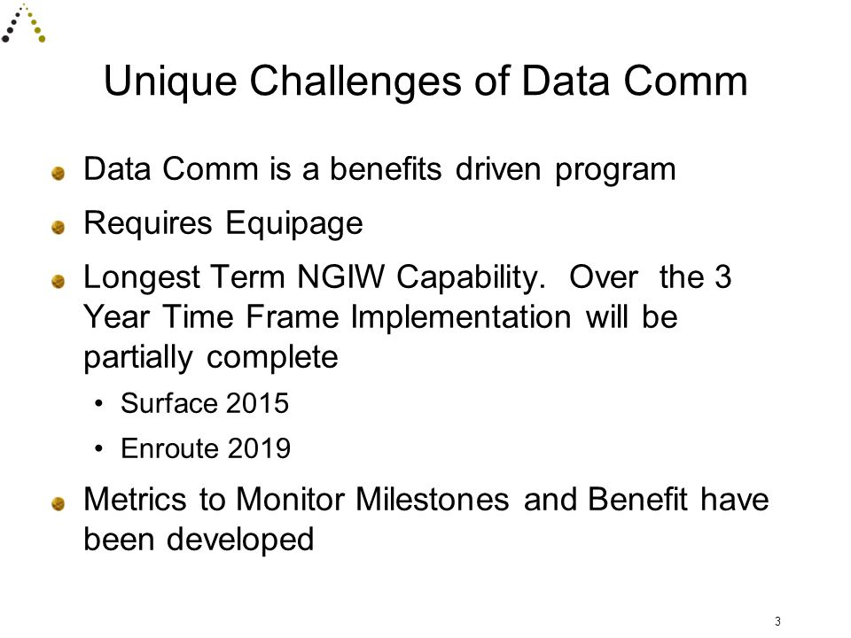 Unique Challenges of Data Comm Data Comm is a benefits driven program Requires Equipage Longest Term NGIW Capability.