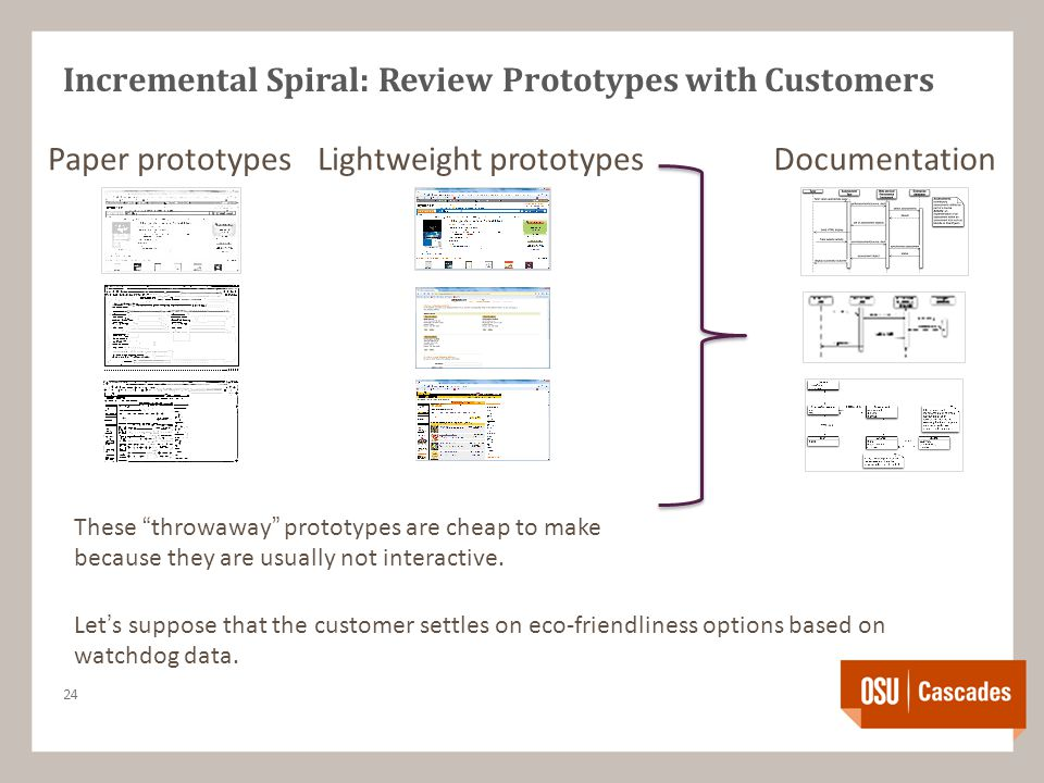 Incremental Spiral: Review Prototypes with Customers 24 Paper prototypesLightweight prototypesDocumentation Let's suppose that the customer settles on