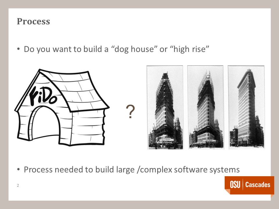 Process Do you want to build a dog house or high rise Process needed to build large /complex software systems 2