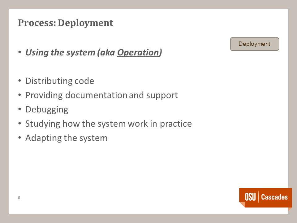 Process: Deployment Using the system (aka Operation) Distributing code Providing documentation and support Debugging Studying how the system work in practice Adapting the system 8 Deployment