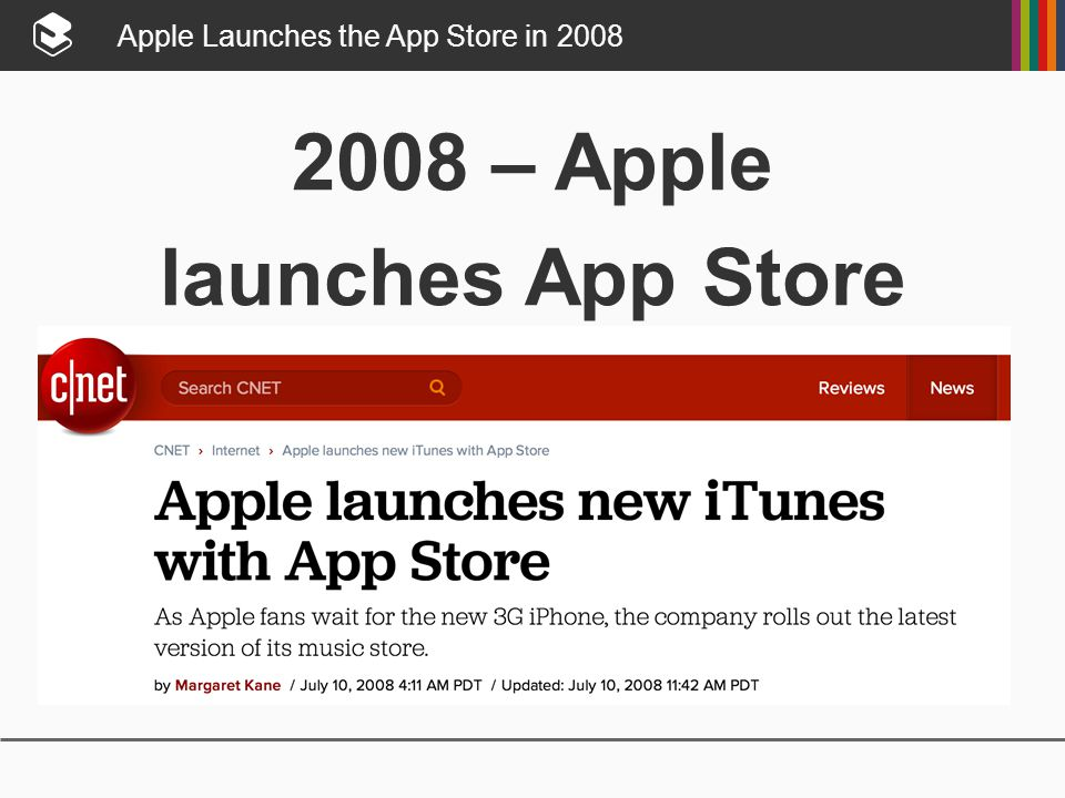 Apple Launches the App Store in 2008 2008 – Apple launches App Store
