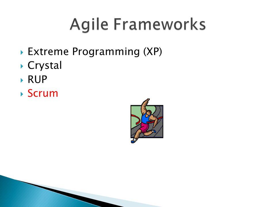  Extreme Programming (XP)  Crystal  RUP  Scrum