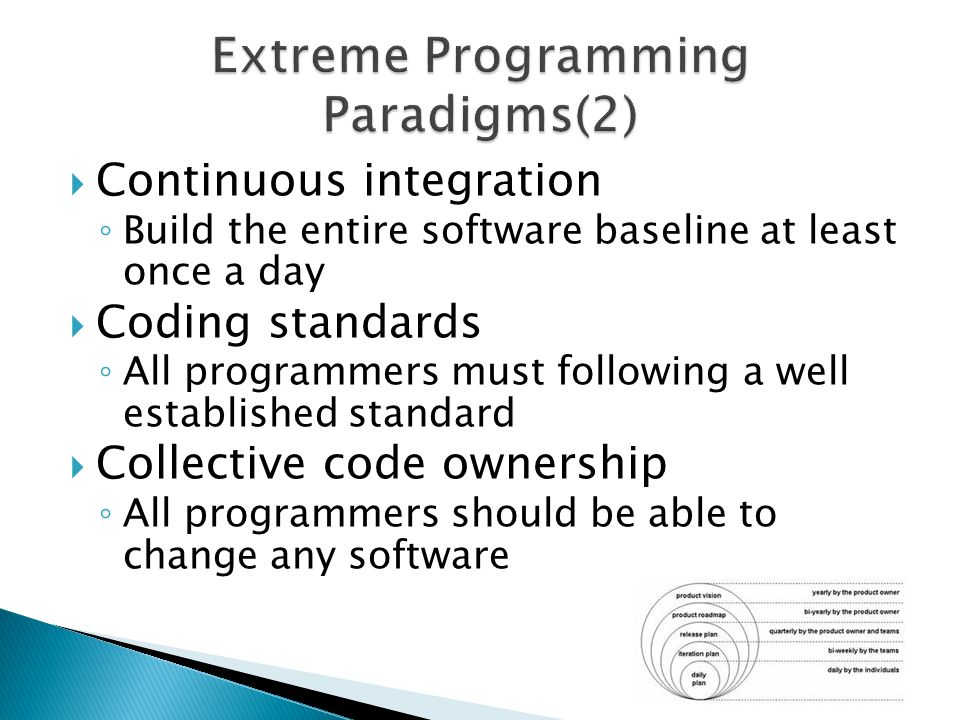  Continuous integration ◦ Build the entire software baseline at least once a day  Coding standards ◦ All programmers must following a well establish
