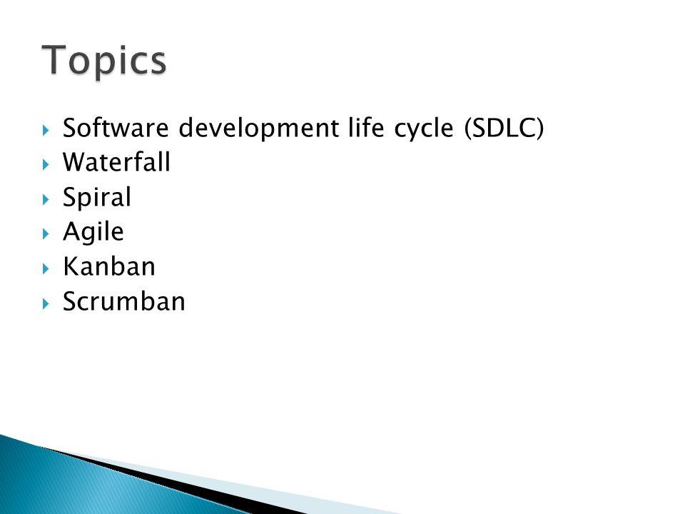  Software development life cycle (SDLC)  Waterfall  Spiral  Agile  Kanban  Scrumban