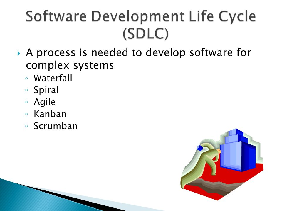  A process is needed to develop software for complex systems ◦ Waterfall ◦ Spiral ◦ Agile ◦ Kanban ◦ Scrumban