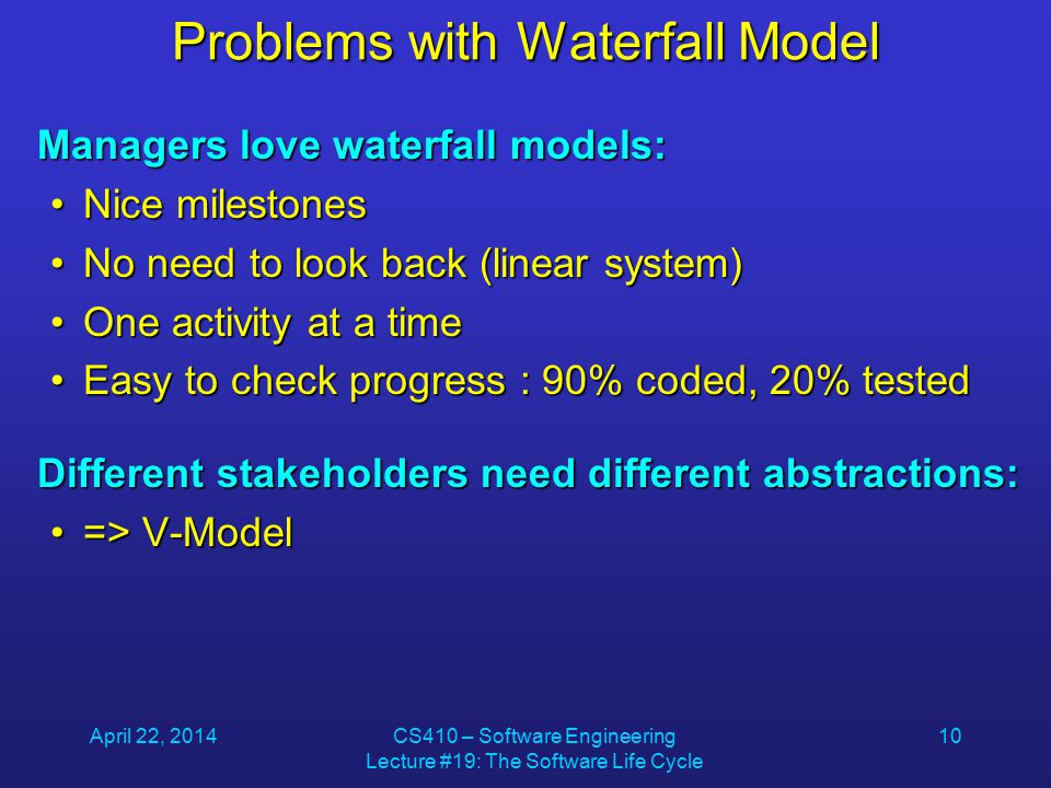 April 22, 2014CS410 – Software Engineering Lecture #19: The Software Life Cycle 10 Problems with Waterfall Model Managers love waterfall models: Nice milestonesNice milestones No need to look back (linear system)No need to look back (linear system) One activity at a timeOne activity at a time Easy to check progress : 90% coded, 20% testedEasy to check progress : 90% coded, 20% tested Different stakeholders need different abstractions: => V-Model=> V-Model