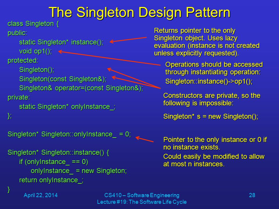 April 22, 2014CS410 – Software Engineering Lecture #19: The Software Life Cycle 28 The Singleton Design Pattern class Singleton { public: static Singleton* instance(); static Singleton* instance(); void op1(); void op1();protected: Singleton(); Singleton(); Singleton(const Singleton&); Singleton(const Singleton&); Singleton& operator=(const Singleton&); Singleton& operator=(const Singleton&);private: static Singleton* onlyInstance_; static Singleton* onlyInstance_;}; Singleton* Singleton::onlyInstance_ = 0; Singleton* Singleton::instance() { if (onlyInstance_ == 0) if (onlyInstance_ == 0) onlyInstance_ = new Singleton; onlyInstance_ = new Singleton; return onlyInstance_; return onlyInstance_;} Returns pointer to the only Singleton object.
