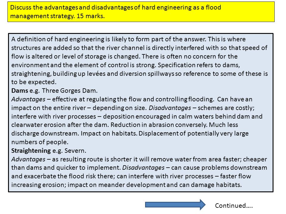 Discuss the advantages and disadvantages of hard engineering as a flood management strategy.