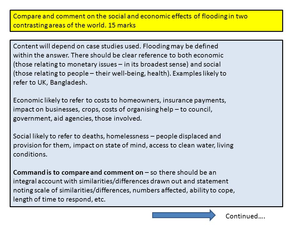 Compare and comment on the social and economic effects of flooding in two contrasting areas of the world.